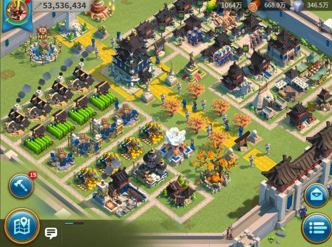 Rise of Kingdoms(ライズオブキングダム)の街づくりをしているところ